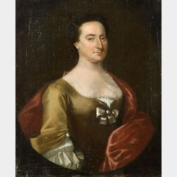 Manner of John Singleton Copley (American, 1737-1815)    Portrait of a Lady in Gold and Rose.