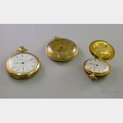 Ladys 18kt Gold Hunting Case Pocket Watch, a Gold Open Face Pocket Watch, and a Gold-filled Open Face Pocket W...
