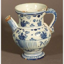 Tin Glazed Blue and White Pitcher