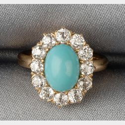 Antique 18kt Gold, Turquoise, and Diamond Ring, Tiffany & Co.