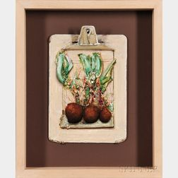 Gregory Joseph Gillespie (American, 1936-2000)      Still Life with Root Vegetables