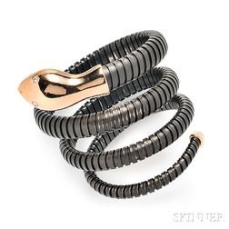18kt Rose Gold and Blackened Metal Snake Bracelet