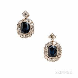 Sapphire and Diamond Earclips