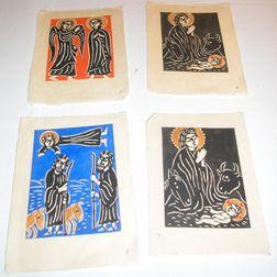 School of Sadao Watanabe (Japanese, b. 1913)      Nineteen Images from The Synoptic Gospels