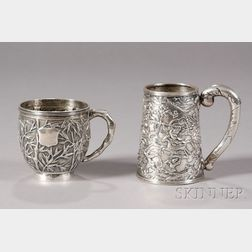Two Chinese Export Silver Mugs