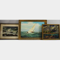 American School, 20th Century      Five Marine Scenes:   Charles Theadore Allenbrook (American, b. 1905), Rockport Harbor