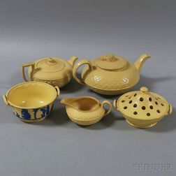 Five Wedgwood Caneware Vessels