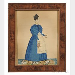 Joseph Davis (Maine/New Hampshire, 1811-1865)      Portrait of a Woman in a Blue Dress