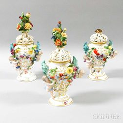 Three German Porcelain Potpourris