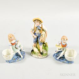 Three Bisque Porcelain Figures of Children