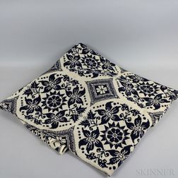 Blue and White Woven Coverlet