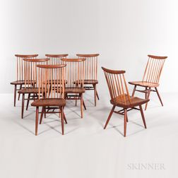 Eight George Nakashima (1905-1990) New Chairs
