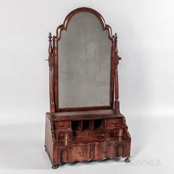 Queen Anne Walnut Veneer Dressing Mirror