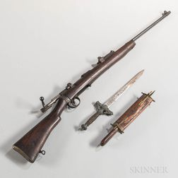 Sporterized Birmingham Small Arms Short Magazine Lee Enfield Bolt-action Rifle, Reproduction Knife and Carving Set