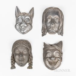 Four Aluminum Halloween Mask Molds