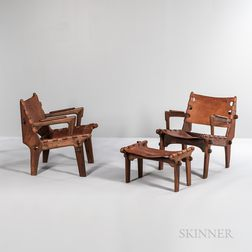 Two Angel Pazmino Armchairs and a Footstool