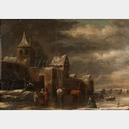 Dutch School, 17th Century      Dark Winter Day with Figures on the Ice Outside a Walled Town