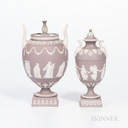Two Wedgwood Solid Lilac Jasper Vases and Covers