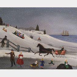Martha F. Cahoon (American, b. 1905)  Sleigh Ride and Winter Fun.