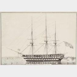 Nathaniel Currier, publisher (American, 1813-1888)      U.S. Ship North Carolina 102 Guns.
