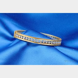 22kt Gold, Platinum and Diamond Bangle Bracelet, Cathy Waterman