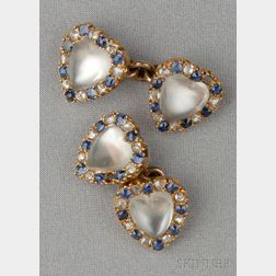 Antique 14kt Gold and Moonstone Cuff Links