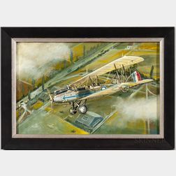 Attributed to Douglas Ettridge (British, 1927-2009)    Portrait of a Biplane