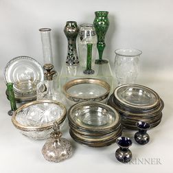 Thirty-seven Pieces of Silver-mounted and Silver Overlay Glass Tableware