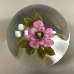 Victor Trabucco Art Glass Floral Paperweight