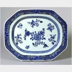 Blue and White Chinese Export Porcelain Octagonal Oblong Platter
