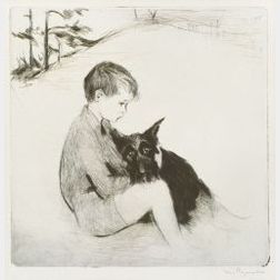 Lot of Two Dog Images: Margery Ryerson (American, b. 1886), A Dog and His Boy, etching; American School, 20th Century, Ay-Jay-Bee Books