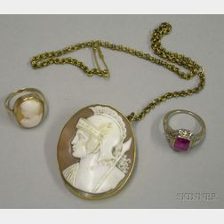 14kt Gold Framed Shell Carved Cameo Brooch and Two Rings