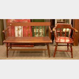 Red-painted and Stencil Decorated Windsor Firehouse Armchair and a Windsor Maple and   Pine Spindle-back Bench