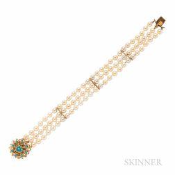 14kt Gold and Cultured Pearl Bracelet