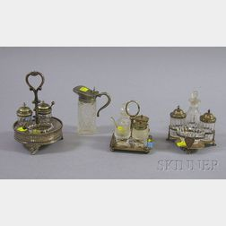 Three Diminutive Silver Plated Condiment Sets and a Syrup Jug.
