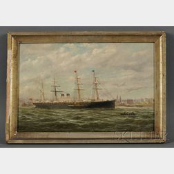 Parker (George Parker) Greenwood (British, 1850-1904)      Ocean Liner at Anchor, perhaps in the River Mersey