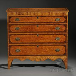 Rare and Important Federal Tiger Maple and Mahogany, Flame Birch and Bird's-eye   Maple Veneer Inlaid Bureau