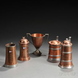 Five Copper Yachting Trophies