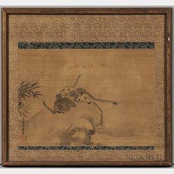 Sumi-e   Depicting Three Monkeys
