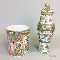 Rose Medallion Porcelain Covered Vase and Mug