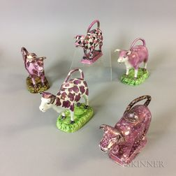 Five Staffordshire Pink Lustre Ceramic Cow Creamers