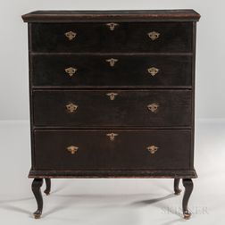 Black-painted Chest over Drawers on Bandy Legs