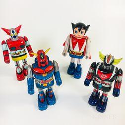 Four Tin Litho Japanese Wind-up Robots