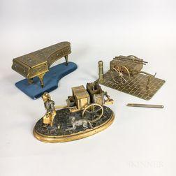 Three Brass Novelty Inkwells