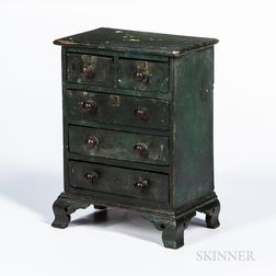 Rare Miniature Green-painted Chest of Five Drawers