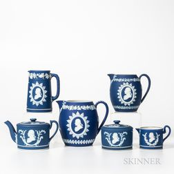Six Wedgwood Dark Blue Jasper Dip Washington/Franklin Items