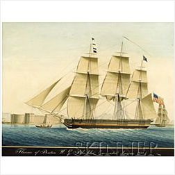 Attributed to Raffael Corsini (Turkish, ac. Symrna, 1830-1880)  Florence of Boston Wm. G Blackler Commander, Smyrna 1833.