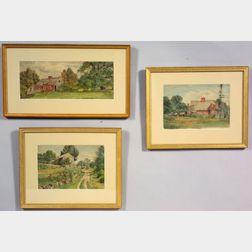 Attributed to Charles Franklin Pierce (Massachusetts, 1844 - 1920)    Three Farm Landscapes.