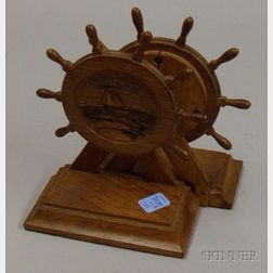 Pair of U.S. Constitution Hull Oak Presentation Carved Ship's Wheel Figural   Bookends