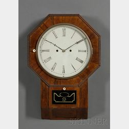 Rosewood Thirty-Day Lever Spring Wall Clock by Atkins Clock Company